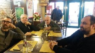 MICHELE POLGA,GIORGIO SPOLAOR, DAVIDE RAGAZZONI e ANTONIO MORGANTI al ristorante, prima di rifocillarsi, durante la pausa pranzo, tra la prima e la seconda fase della registrazione del cd IL SANTO CHE VOLA del Massimo donà TRIO