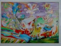 Si tratta di un'opera realizzata con matite colorate dal giovanissimo Massimo Donà, risalente, con buona probabilità, al 1980 - mi mancava un anno alla laurea ! - che ora intitolerei: IL MONDO E' FUORI SQUADRA ! (proprietà di PIETRO TRENTINAGLIA - vecchio amico, dai tempi del TAG... locale mitico della Mestre degli anni 80 e 90... che ringrazio per avermi consentito di realizzare questa fotografia).