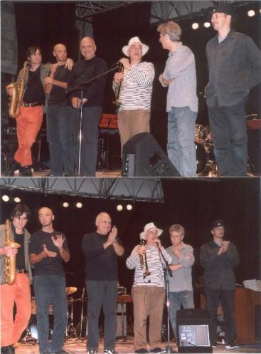Il Massimo Donà Quinte con Toni Pagliuzza alla fine del concerto tenuto a Venezia nel campo del Conservatorio