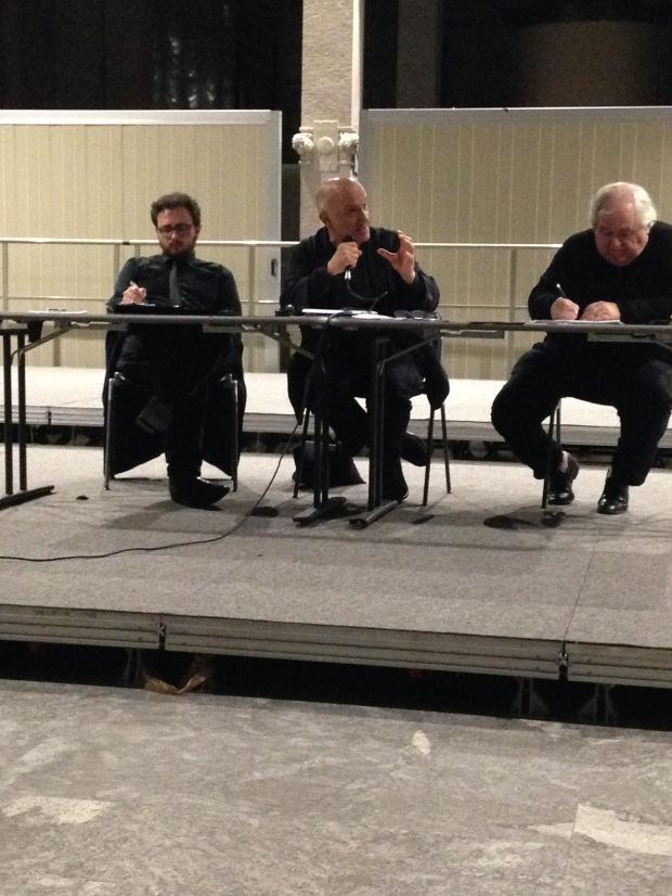 Massimo Donà con Erasmo Storace e il poeta Milo De Angelis (MILANO, Palazzina Liberty, primavera 2015