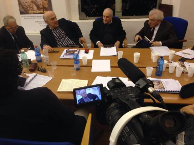 Massimo Donà durante la master class di SCALA nel novembre 2015 con Carlo Sini, Vincenzo Vitiello e Roberto Finelli