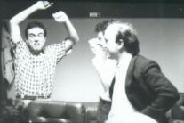 Massimo Donà e Davide Ragazzoni in studio di registrazione negli anni 80