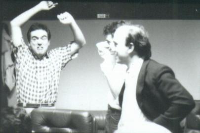 Massimo Donà e Davide ragazzoni in studio di registrazione negli anni '80