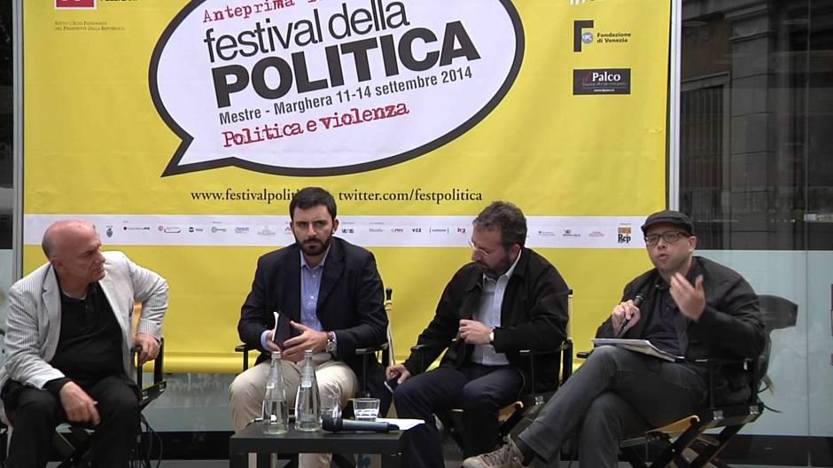 Massimo Donà, Giacomo Petrarca, Petar Bojanic e Luca Taddio al Festival della politica di Mestre (2014)