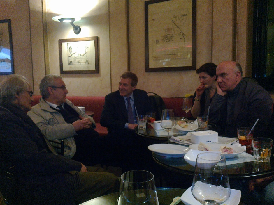 Massimo Donà durante CREMA DEL PENSIERO (a Crema) con Luciano Canfora, Giulio Giorello e Claudio Bartocci