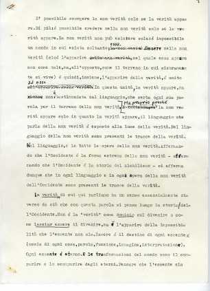 Prima pagina del dattiloscritto redatto da Emanuele Severino come introduzione di SULL'ASSOLUTO, pubblicato da Donà con l'editore Einaudi nel 1992.