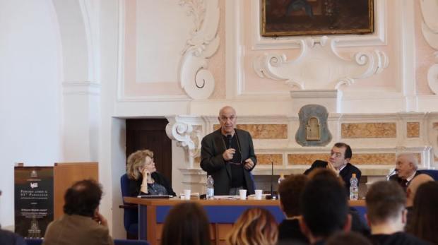 Massimo Donà con VIncenzo Vitiello, Massimo Adinolfi ed Enrica Lisciani Petrini (SCALA, 23 ottobre 2017)