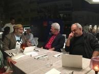 Giuseppe Palumbo, Pier Luigi Gaspa e Giulio Giorello a Mestre durante il festival della politica nel settembre del 2017