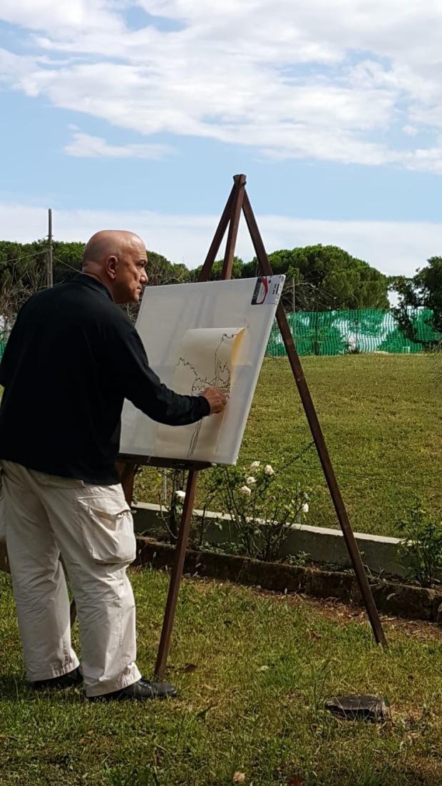 Massimo Donà dipinge en plen air a S. PIETRO DI FELETTO